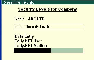 Pre-defined security level in Tally ERP9